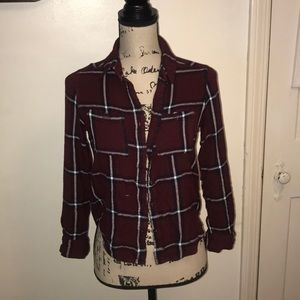 Kendal and Kylie Maroon Plaid Shirt